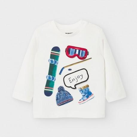 Koszulka z ozdobną aplikacją dla chłopców Mayoral 2047-85 kremowa