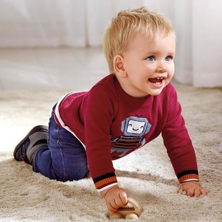 Sweterek dzianinowy dla chłopców Mayoral 2345-41 Bordowy