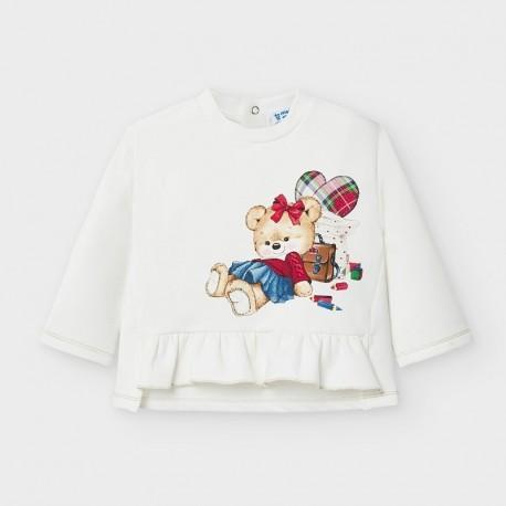 Bluza z falbanką dla dziewczynki Mayoral 2401-80 Kremowa