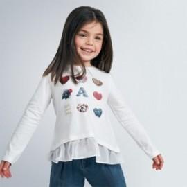 Koszulka z długim rękawem dziewczęca Mayoral 4063-10 krem/czerwony