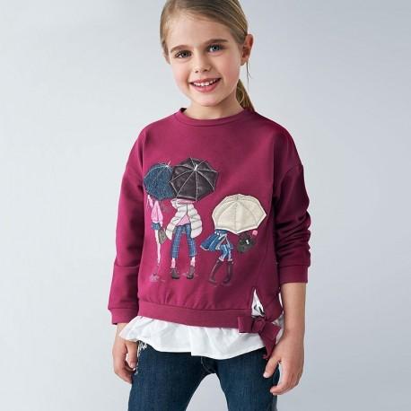 Bluza łączona dziewczęca Mayoral 4401-72 Wiśniowy