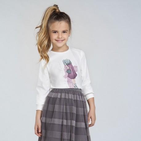 Koszulka z długim rękawem dla dziewczyn Mayoral 7062-27 krem/fiolet