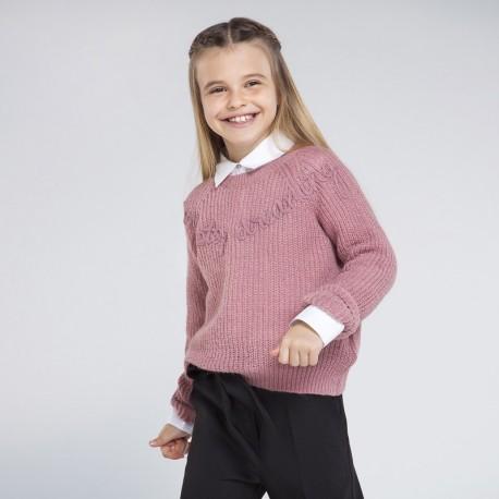 Sweter z haftem dziewczęcy Mayoral 7326-95 Różowy