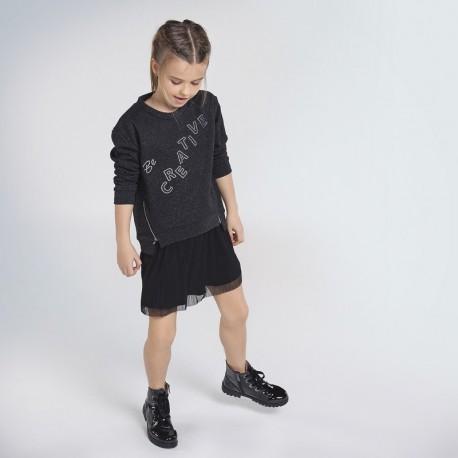 Sukienka sportowa z tiulem dla dziewczynki Mayoral 7965-26 czarna