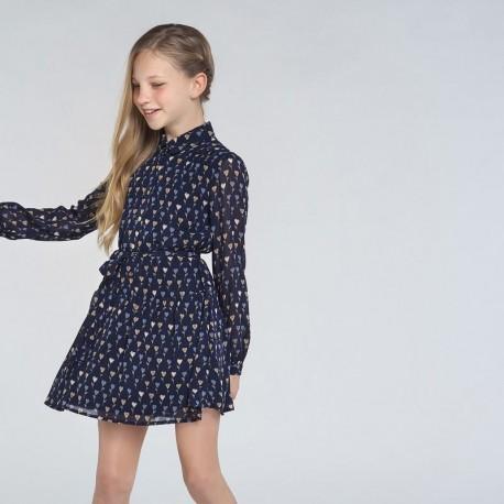 Sukienka z nadrukiem dla dziewczyn Mayoral 7972-16 granatowa