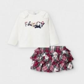 Komplet ze spódniczką dla dziewczynek Mayoral 2973-2 krem/czerwony