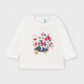 Koszulka z długim rękawem dla dziewczynek Mayoral 2055-31 krem/róż