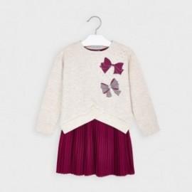 Sukienka z plisowanym dołem dziewczęca Mayoral 4986-63 Wiśniowy