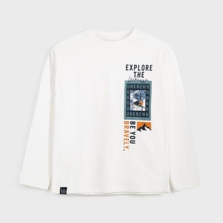 Koszulka z długim rękawem chłopięca Mayoral 7058-91 Śmietanka