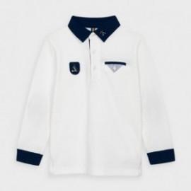 Koszulka polo z długim rękawem dla chłopca Mayoral 4128-12 kremowa