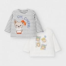 Komplet koszulek dla dziewczynek Mayoral 2057-82 szary/krem