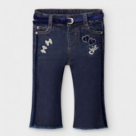 Spodnie jeans z paskiem dziewczęce Mayoral 2590-79 Granatowy