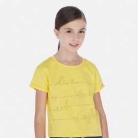 Koszulka z krótkim rękawem dziewczęca Mayoral 6019-37 Żółty