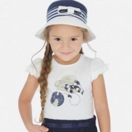 Koszulka bawełniana dla dziewczynki Mayoral 3001-67 biała/granat