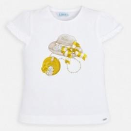 Koszulka bawełniana dla dziewczynki Mayoral 3001-69 biała/ żółta