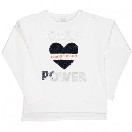 Koszulka z długim rękawem dziewczęca Trybeyond 94364-10E biała