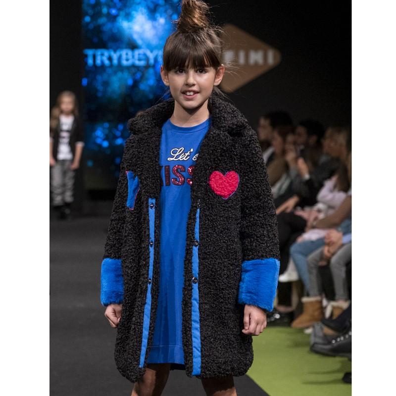 Kurtka z bukli zimowa dla dziewczynki Trybeyond 97996-10A granat