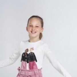 Koszulka z długim rękawem dziewczęca Mayoral 7065-10 Biały/Czarny