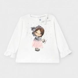 Koszulka z długim rękawem dziewczęca Mayoral 2054-50 Biały/różowy