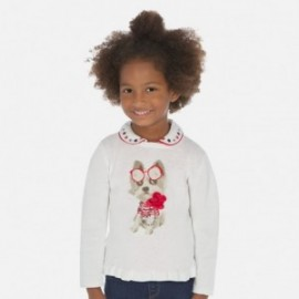 Sweter z haftem dziewczęcy Mayoral 3319-43 Biały