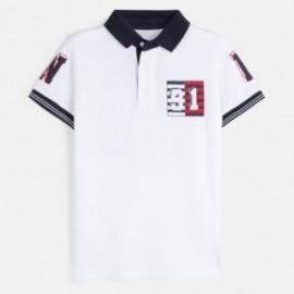 Koszulka polo z aplikacją chłopięca Mayoral 6144-88 Biały