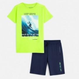 Komplet koszulka i bermudy chłopięcy Mayoral 6613-29 Zielony neon