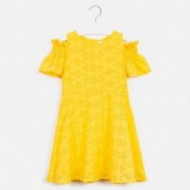 Sukienka z perforacją dziewczęca Mayoral 6983-78 Żółty