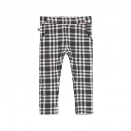 Spodnie w kratkę dla dziewczynki Boboli 241120-9417 kolor czarny