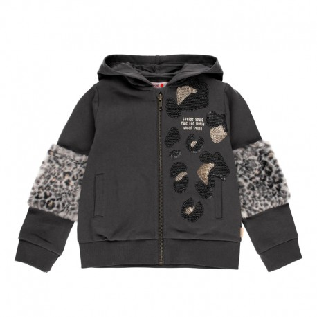 Bluza z futerkiem dla dziewczynki Boboli 441155-8116 kolor antracyt