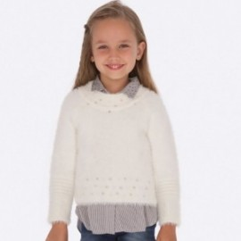 Sweter z perełkami dziewczęcy Mayoral 4301-54 kolor biały