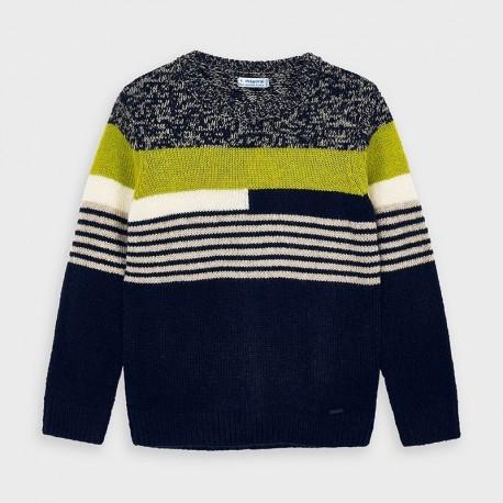 Sweter z haftem chłopięcy Mayoral 4328-67 kolor granat/zieleń