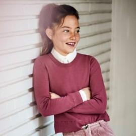 Sweter łączony dziewczęcy Mayoral 7329-55 kolor różowy