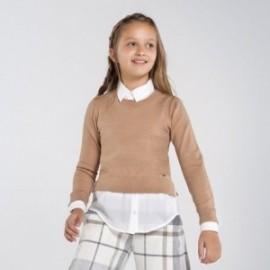 Sweter łączony dziewczęcy Mayoral 7329-54 kolor brązowy