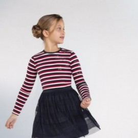 Koszulka w paski dziewczęca Mayoral 7075-37 kolor czerwony