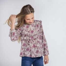 Bluzka w kwiaty dziewczęca Mayoral 7141-3 kolor fioletowy