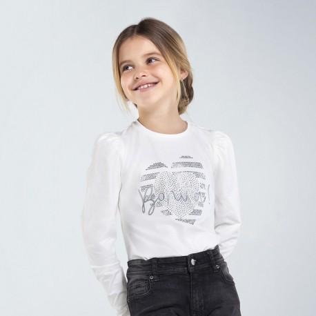 Bluzka z długim rękawem dziewczęca Mayoral 7066-89 kolor biały