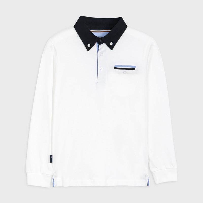 Koszulka polo d/r kontrasty chłopiec Mayoral 7124-67 Śmietanka