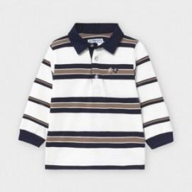 Koszulka polo w paski dla chłopców Mayoral 2125-64 krem/granat/brąz