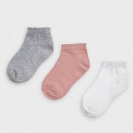 Komplet 3 par skarpetek dla dziewczynek Mayoral 10877-50 Róż/szary/biały