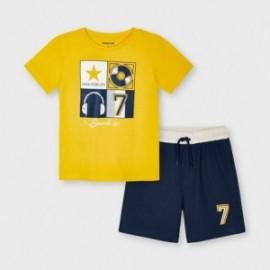 Komplet koszulka i szorty chłopięcy Mayoral 3646-40 Żółty/granat