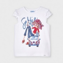 Koszulka z krótkim rękawkiem dla dziewczynek Mayoral 3013-74 Biała
