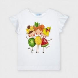 Koszulka z nadrukiem dla dziewczynek Mayoral 3019-25 Biała