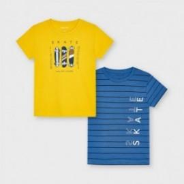 Komplet koszulek z krótkim rękawkiem chłopięcy Mayoral 3045-81 żółty/niebieski