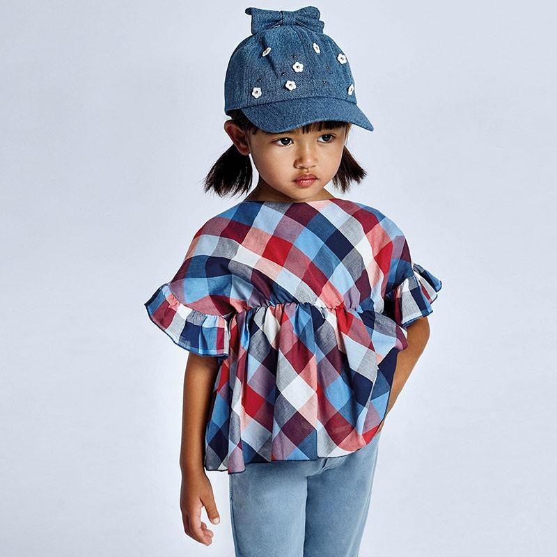 Bluzka z falbanką dla dziewczynek Mayoral 3194-93 kolorowa