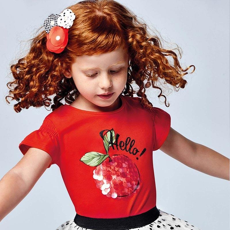 Koszulka z nadrukiem dla dziewczynek Mayoral 3019-27 czerwona