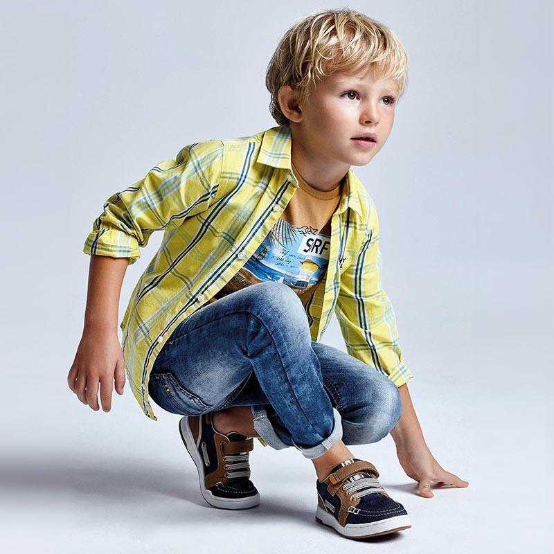 Koszula w kratkę dla chłopców Mayoral 3126-96 żółta