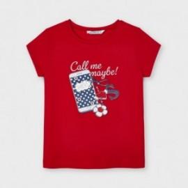 Koszulka z krótkim rękawkiem dla dziewczynek Mayoral 3020-12 czerwona