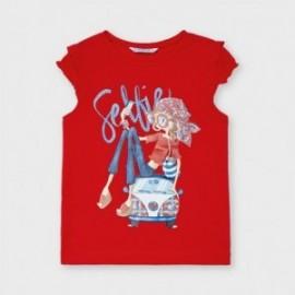 Koszulka z krótkim rękawkiem dla dziewczynek Mayoral 3013-76 czerwona