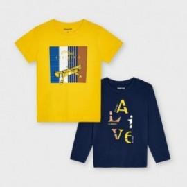 Zestaw 2 koszulki dla chłopca Mayoral 3055-80 żółty/granat