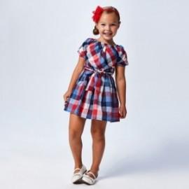 Sukienka w kratkę dziewczęca Mayoral 3948-3 czerwony/niebieski